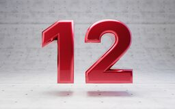 Free Red Number 12. Metallic Red Color Digit Isolated On Concrete Background Stock Photography - 173600682