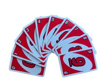 Red number card game arrange from one to nine isolated on white background. CHIANGMAI, THAILAND - NOVEMBER 7, 2018: Red number card game arrange from one to nine royalty free stock image