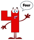 Red Number Four Cartoon Mascot Character Waving For Greeting Stock Image
