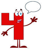 Red Number Four Cartoon Mascot Character Waving For Greeting Royalty Free Stock Photo