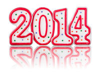 Red number 2014. With reflection Stock Image