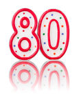 Red number 80. With reflection Royalty Free Stock Photo