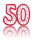 Red number 50. With reflection Royalty Free Stock Photography