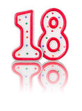 Red number 18. With reflection Royalty Free Stock Photography