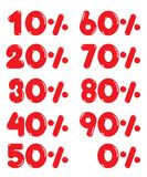 Red number from 0 to 90 percent on white background. Vector design for business Stock Images
