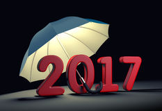 Red number 2017 under umbrella. New year mataphor. 3d illustration Royalty Free Stock Photography