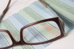 Red numbers. Focus through spectacles on red numbers of the balance sheet Royalty Free Stock Photography