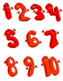 Red Numbers. Happy red numbers, one through ten Stock Photography