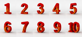 Red  numbers. Red numbers decorated by yellow fashion pattern,  with white background Royalty Free Stock Image