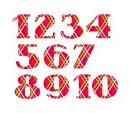 Numbers, colored lines on a red background, vector. Red numbers with serif. Thin colored lines on a red field. The geometrical pattern Royalty Free Stock Images