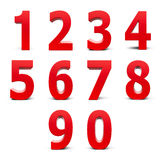 Red numbers set. From 0 to 9 isolated on white background, three-dimensional rendering Stock Image