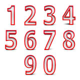 Red numbers set  2 Royalty Free Stock Images
