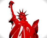 Red NY statue  on white. 3D render Statue of Liberty Royalty Free Stock Image