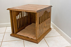 Red Oak Made Dog Kennel for Small Dogs Royalty Free Stock Photo