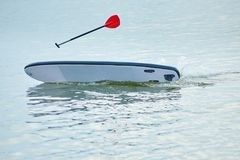 Red oar flying over sup board, swimming withot a man, who felt in water. Stock Images