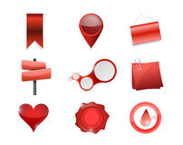 Red objects icon set illustration design Stock Photos