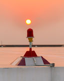 Red obstruction light on RooftopOB light. Royalty Free Stock Photo