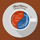 Red ocean and blue ocean business strategy in cup of coffee info. Graphic. Vector illustration Royalty Free Stock Photos