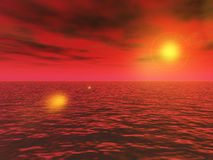 Red ocean sunset Royalty Free Stock Images