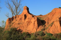 Red ochre lands or ocher lands in Pyrenees , France Royalty Free Stock Photos