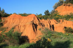 Red ochre lands or ocher lands in Pyrenees , France Royalty Free Stock Images