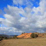 Red ochre lands or ocher marl in Corbieres, France Stock Images