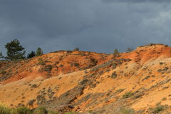 Red ochre lands or ocher marl in Corbieres, France Royalty Free Stock Photos