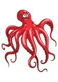 Red octopus animal cartoon character Stock Photo
