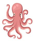 Red octopus cartoon character. Cute octopus flat isolated on white background. Aquatic fauna. Octopus icon. Animal illustra. Tion for zoo ad, nature concept Royalty Free Illustration