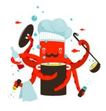 Red Octopus Chef Cooking Food Stock Image