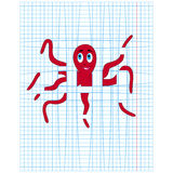 Red octopus on the lines of checkered sheet. Cute red octopus caught in the lines of checkered sheet, cartoon vector illustration Royalty Free Stock Images