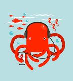 Red Octopus Listening to Smartphone Music Stock Photo