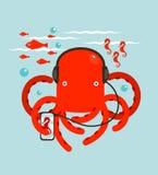 Red Octopus Listening to Smartphone Music. Underwater headphones listener. Vector layered EPS8 illustration Stock Photo