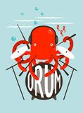 Red Octopus Playing Drums. Underwater devil-fish drummer. Vector layered EPS8 illustration Stock Photos
