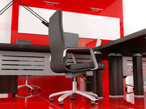 Red office. The modern interior of office 3d image