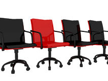 Red office armchairs, isolated. Red office armchairs isolated on the white background, 3D illustration/render Stock Photo