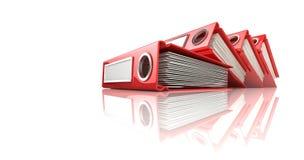 Red office binder folders Stock Image