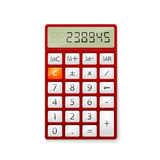Red office calculator. Isolated on white background Stock Image