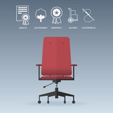Red office chair in flat design with service icons set. Vector. Stock Images