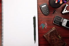 Red office desk with stationery Royalty Free Stock Photos