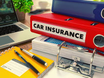 Red Office Folder with Inscription Car Insurance Royalty Free Stock Image