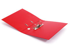 Red office folder with paper Stock Images