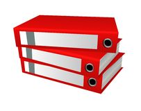 Red office folders Stock Image
