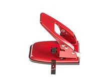 Red office hole puncher. Royalty Free Stock Images