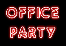 Red OFFICE PARTY neon sign. On black backdrop Stock Photos