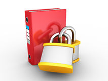Red Office Ring Binder Protected By Two Padlocks Royalty Free Stock Photos