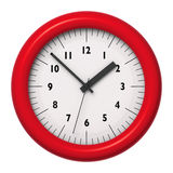 Red office wall clock on white background Royalty Free Stock Images