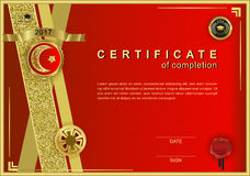 Red official certificate with wafer, emblem, gold design elements. Red official certificate.Gold glittering design elements Stock Image