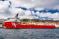Red offshore supply ship Stock Photos