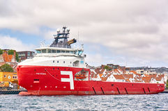 Red offshore supply ship Royalty Free Stock Images